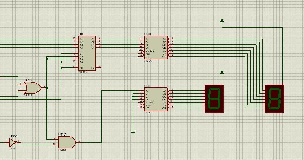 7447 a display 7 segmentos - Sumador y restador 4 bits