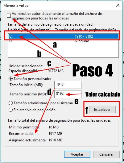 Configuracion memoria virtual - Configurar la memoria virtual en Windows 10