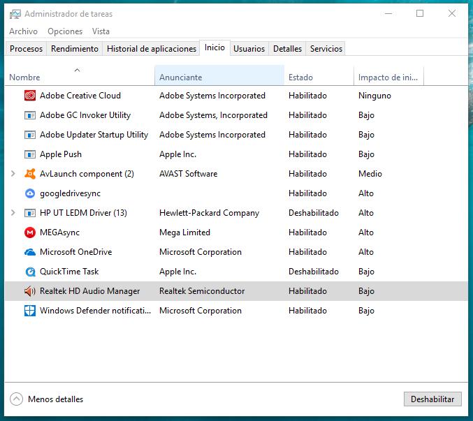 administrador de tareas programas que arrancan con windows - Quitar programas que se inician con Windows 10