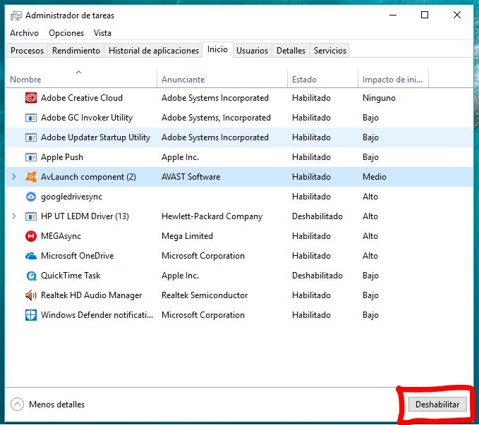 deshabilitar habilitar programas inicio windows - Quitar programas que se inician con Windows 10
